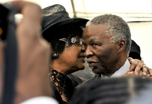 Winnie Madikizela-Mandela and Thabo Mbeki at veteran photographer Alf Kumalo's funeral at the West Park Cemetery on October 27, 2012 in Johannesburg, South Africa. Picture: Gallo Images
