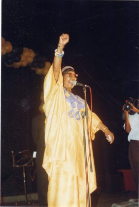 Winnie Madikizela-Mandela at a student rally in Trinidad & Tobago in 1998.