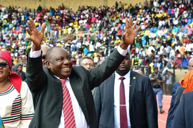 President Cyril Ramaphosa greets the crowd at government's Freedom Day celebrations in Bloemfontein, Free State, 27 April 2018. Picture: Elmond Jiyane, GCIS