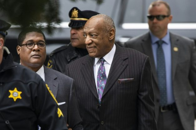 Comedian Bill Cosby arrives for the first day of his second trial for sexual assault at the Montgomery County Courthouse in Norristown, Pennsylvania, on April 9, 2018
