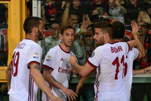 AC Milan players celebrate after Giacomo Bonaventura (Rear R) scored against Torino
