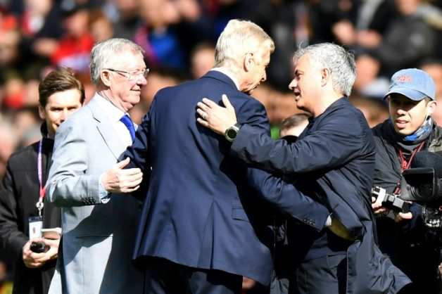 Wenger is greeted by Ferguson and Mourinho on his final trip to Old Trafford as Arsenal manager.