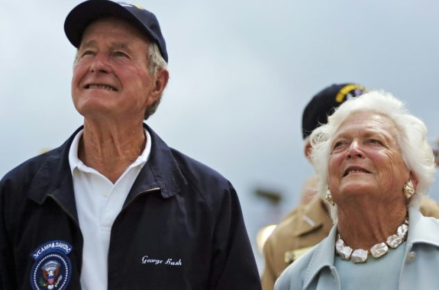 "Former first lady Barbara Bush is in ""failing health,"" the office of former president George H Bush (L) says"