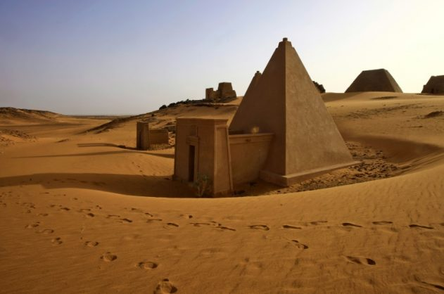This picture taken on April 24, 2018, shows Meroitic pyramids at the archaeological site of Bajarawiya, near Hillat ed Darqab, some 250 kilometers northeast of Khartoum