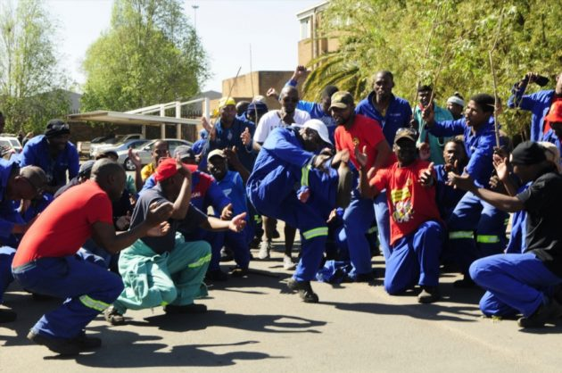 VR Laser steel production workers embark on a protests outside the company's offices on September 4, 2017 in Boksburg, after not receiving their salaries in August. Picture: Gallo Images