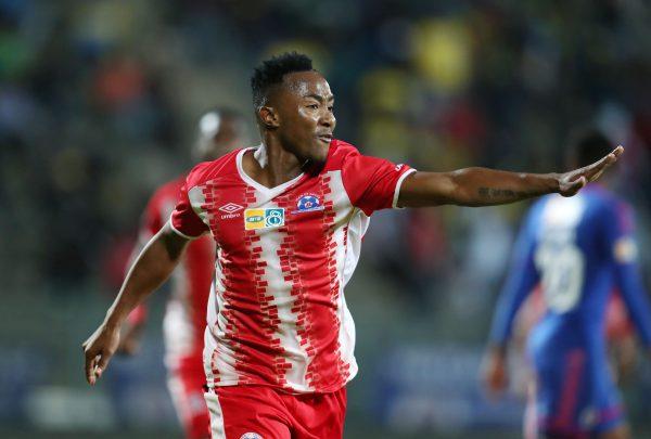 Lebohang Maboe of Maritzburg United celebrates goal (Muzi Ntombela/BackpagePix)