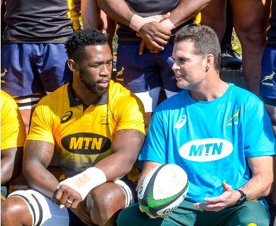Siya Kolisi and Rassie Erasmus share a moment. Photo: Gallo Images.