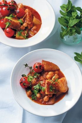 Coconut, sweet potato and chickpea curry