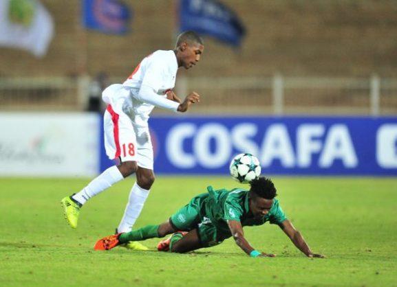 Dalitso Sailesi of Malawi challenged by Jean Patate of Mauritius during the 2018 COSAFA match between Mauritius and Malawi at Old Peter Mokaba Stadium (Samuel Shivambu/BackpagePix)