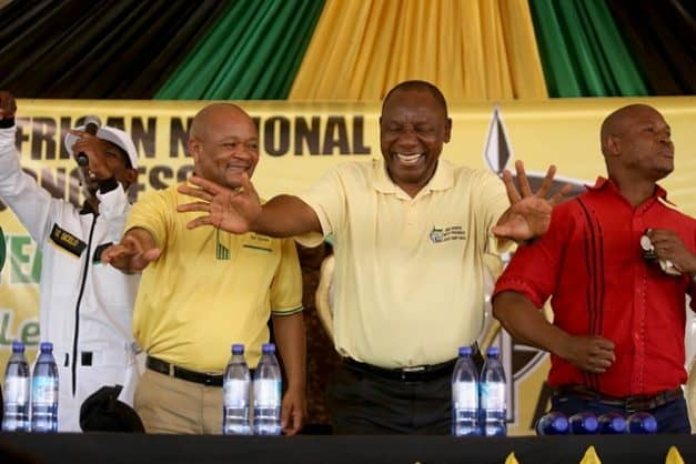 President Cyril Ramaphosa is seen with Senzo Mchunu, left, and Edwin Mkhize during an ANC rally in Jozini on November 19, 2017 in KwaZulu-Natal, South Africa. Picture: Gallo Images