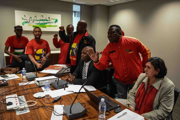Tshwane Mayor Solly Msimanga is seen reacting to EFF members that disrupted a meeting with officials in protest at former chief of staff Marietha Aucamp's employment, 16 May 2018, Tshwane House, Pretoria. Picture: Jacques Nelles