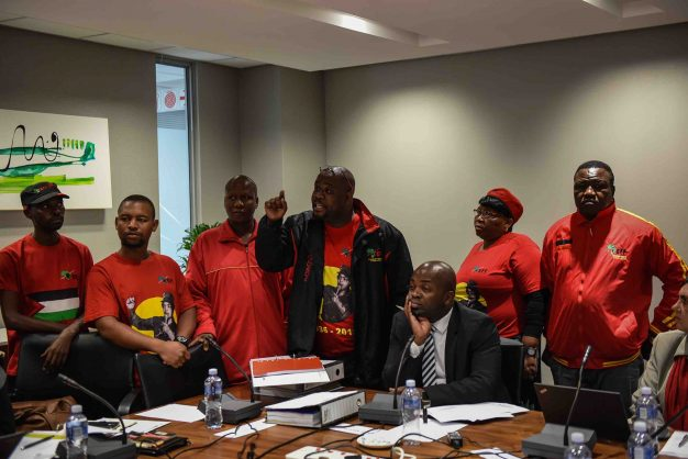 Tshwane Mayor Solly Msimanga is seen reacting to the EFF members that disrupted a meeting with officials in protest at the chief of staff Marietha Aucamp's employment. She has been put on special leave amid allegations around her qualifications, 16 May 2018, Tshwane House, Pretoria. Picture: Jacques Nelles
