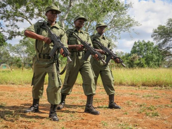 Lucrescencia Macuacua, left, with Gilda Chitlango and Dorcea Mongoe show off their newly learnt skills at a ranger passing-out parade in in Limpopo National Park, 23 May 2018. Picture: Supplied