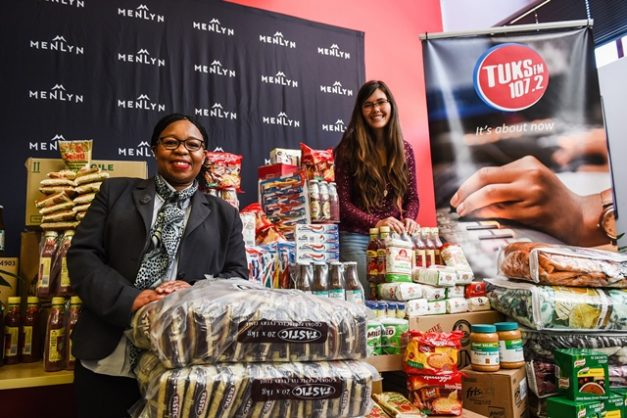 Jolene Harber (R), Tuks FM sales representative and Olive Ndebele, general manager at Menlyn Park Shopping Centre are seen standing by some of the R30 000 worth of groceries and supplies sponsored by the Menlyn Park Shopping Centre for 10 000 University of Pretoria Students who form part of the missing middle in South Africa's academic environment, 28 May 2018, UP Campus, Pretoria. Picture: Jacques Nelles