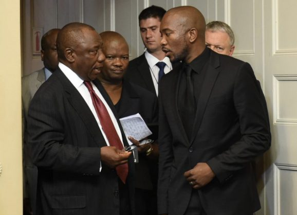 Cyril Ramaphosa with Mmusi Maimane in 2014. Picture: DoC