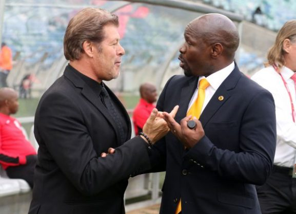 Luc Eymael with Steve Komphela (Photo by Anesh Debiky/Gallo Images)