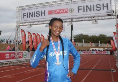 Kesa Molotsane after winning the race during the Spar Women's Challenge at Bellville Stadium on March 25, 2018 in Cape Town, South Africa. Photo: Gallo Images