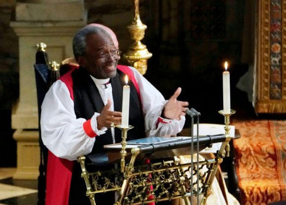Bishop Michael Bruce Curry gave an impassioned address during the wedding ceremony of Haary, Duke of Sussex, and Meghan, Duchess of Sussex. Picture: AFP