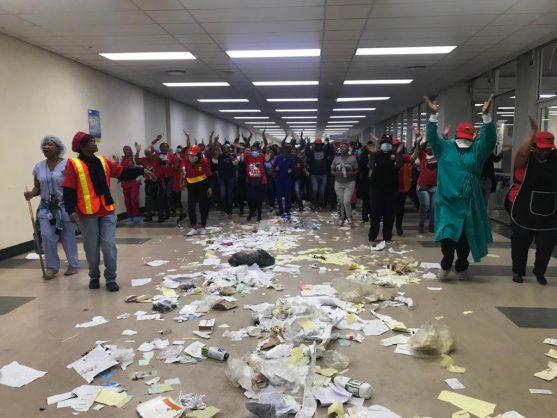 Protesters at Charlotte Maxeke Hospital. Pic: Neil McCartney.