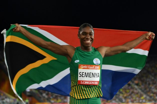 Caster Semenya celebrates winning gold in the women's 800m at the last Commonwealth Games.