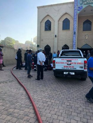 Security company, Reaction Unit South Africa were called out to the scene of the crime around 2:30pm after receiving multiple calls regarding a 'terrorist attack' at the Imam Hussain Mosque in Ottawa, Verulam.