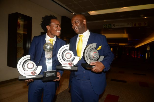 Pitso Mosimane with Percy Tau during the Premier Soccer League 2017/2018 Awards evening at Sandton Convention Centre. (Photo by Lefty Shivambu/Gallo Images)