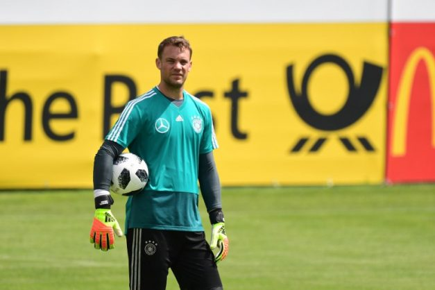 Germany's goalkeeper Manuel Neuer attends a training session at the Rungghof training center on May 31, 2018 in Girlan, near Bolzano, northern Italy, ahead of the FIFA World Cup 2018 in Russia.    The
