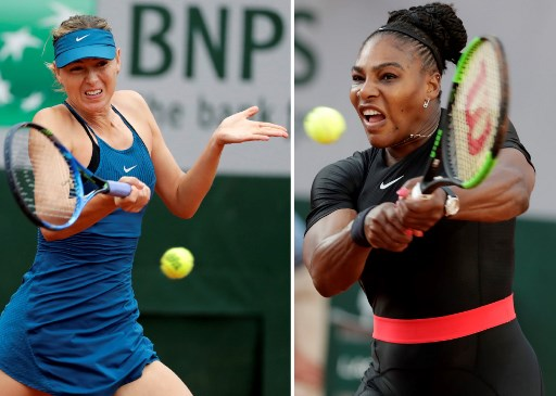 In this combination of file photographs created on June 3, 2018, Russia's Maria Sharapova (L) plays a forehand return to Netherland's Richel Hogenkamp during their women's singles first round match on day three of The Roland Garros 2018 French Open tennis tournament in Paris May 29, 2018 and (R) Serena Williams of the US plays a backhand return to Germany's Julia Goerges during their women's singles third round match on day seven of The Roland Garros 2018 French Open tennis tournament in Paris on June 2, 2018. Serena Williams and Maria Sharapova will renew their bitter 14-year rivalry in the French Open last 16 on June 4, 2018, with the American dominating their record 19-2.   / AFP PHOTO / Thomas SAMSON