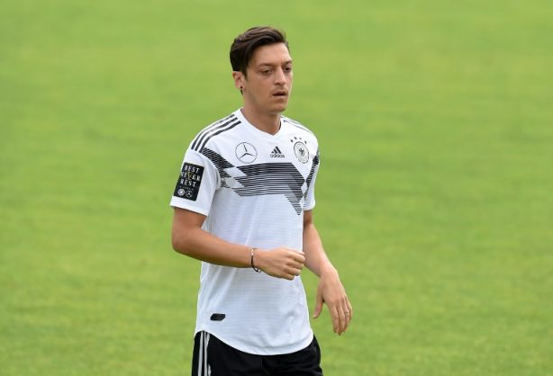 Germany's midfielder Mesut Ozil attends a training session of the German national football team at the Rungghof training centre on June 7, 2018 in Eppan near Bolzano, northern Italy, ahead of the FIFA World Cup 2018 in Russia.  / AFP PHOTO / Christof STACHE