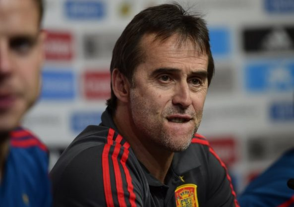 Former Spain national football team coach Julen Lopetegui reacts during a press conference at Krasnodar's stadium on June 8, 2018 on the eve of the international friendly match against Tunisia. / AFP PHOTO / Pierre-Philippe MARCOU