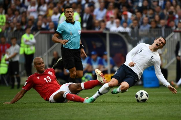 Antoine Griezmann was made to toil by a compact Denmark defence before he was replaced 20 minutes from time