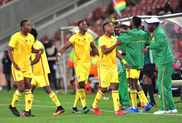 Evans Rusike of Zimbabwe celebrates goal with teammates during the 2018 COSAFA quarter finals match between Zimbabwe and Botswana at Peter Mokaba Stadium. (Samuel Shivambu/BackpagePix)