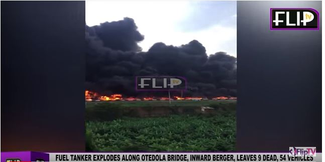 9 people died and over 50 vehicles were burnt during an explosion on a bridge in Lagos, Nigeria, yesterday.