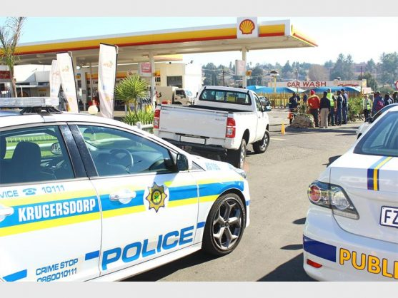 The scene at the Shell garage this morning, 4 June, showing the targeted G4S van. Photo: Bianca Pindral.