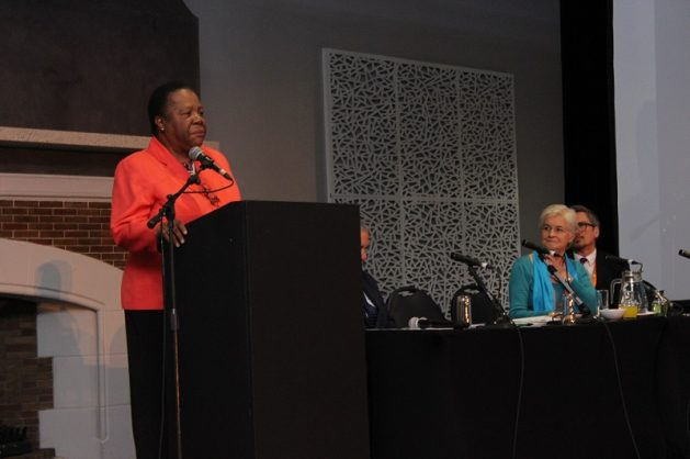 Higher education and training minister Naledi Pandor speaking at the 2018 Siyaphumelela Conference at the Wanderers Club, Johannesburg, 12 June 2018. Picture: ANA