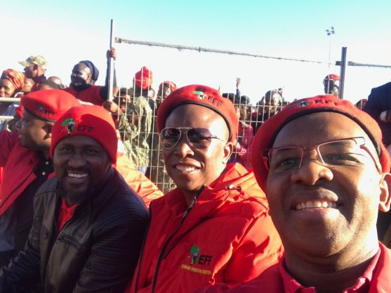 Ringo Madlingozi (left) with  the EFF's top 3 in June, 2018.