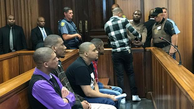 From left, Jermaine Mitchell, Glynn Carelson, Wendell Petersen, Robin Taylor and Graham Kammies, charged with a 2015 triple murder. Picture: ANA