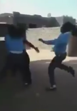 A screengrab from one of the videos of pupils assaulting teachers circulating on social media.