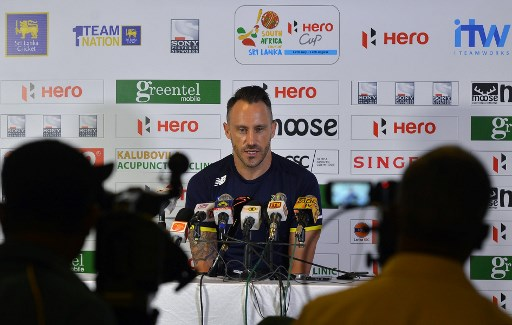 South African cricket team captain Faf du Plessis addresses a press conference at the Galle International Cricket Stadium in Galle on July 11, 2018, ahead of their tour of Sri Lanka. South Africa will play two Test matches, five 50-over One-Day Internationals (ODI) and one T20 matches in Sri Lanka between July 12 and August 14. The first Test between South African and Sri Lanka will be played on July 12 at the Galle International Cricket Stadium in Galle. / AFP PHOTO / LAKRUWAN WANNIARACHCHI