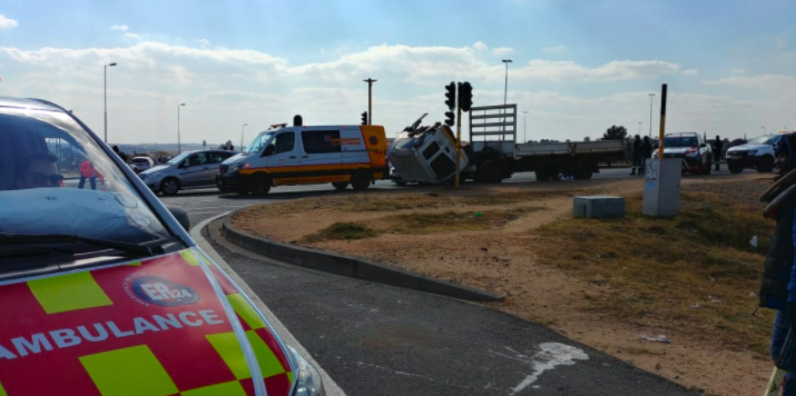 Emergency services attend to the man who was run over by a truck in Linbro Park, 6 July 2018. Picture: ER24