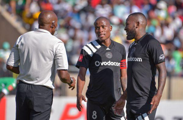 Thabo Matlaba and  Mpho Makola of Orlando Pirates (Frikke Kapp/BackpagePix)