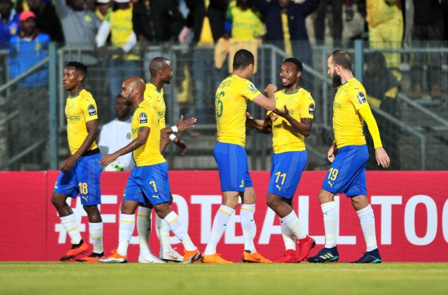 Sibusiso Vilakazi of Mamelodi Sundowns celebrates a goal with teammates during the 2018 CAF Champions League match between Mamelodi Sundowns and AS Togo Port at Lucas Moripe Stadium (Samuel Shivambu/BackpagePix)