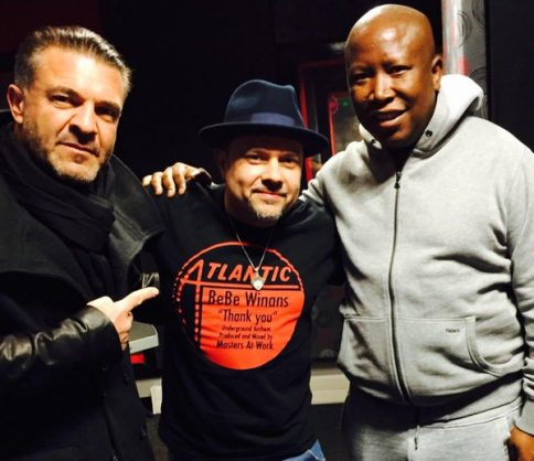 Malema with self-confessed tobacco smuggler Adriano Mazzotti (on the left).