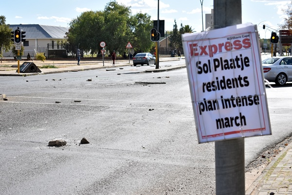 A scene in Kimberley after a violent protest, 12 July 2018.