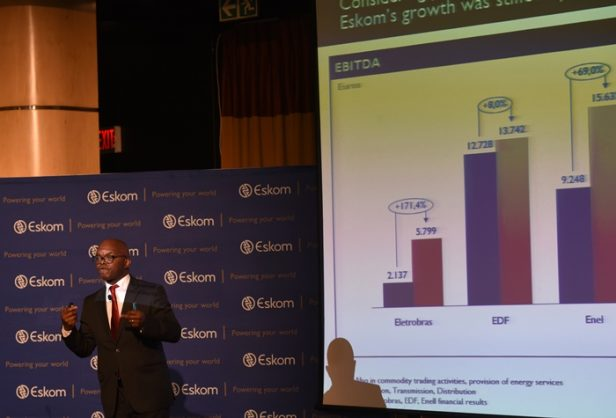 Eskom CEO Phakamani Hadebe presents his report at Eskom head office Megawatt Park in Johannesburg, 23 July 2018, after the announcement of Eskom's 2017/18 anual results. Picture: Nigel Sibanda