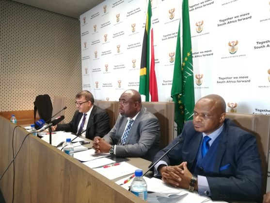 From left, Public Works acting director general Imtiaz Fazel, Public Works Minister Thulas Nxesi and Special Investigations Unit head Andy Mothibi at a briefing in Pretoria, 19 July 2018. Picture: ANA