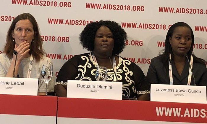 South African sex worker activist Dudu Dlamini, centre, was recognised by the International AIDS Society yesterday for her work in advancing gender justice and health. Picture: ANA