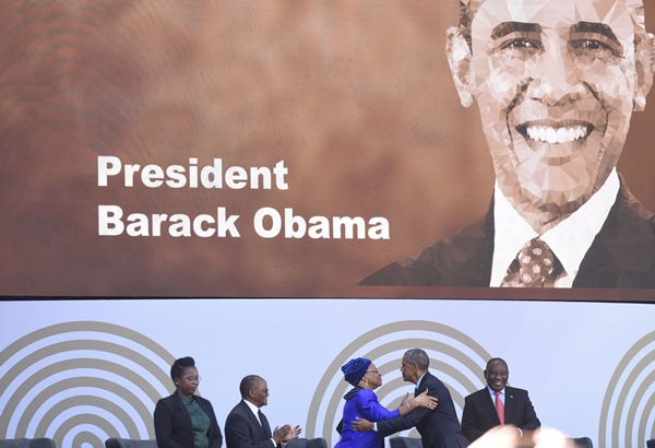 Former US president Barack Obama greets Graca Machel during the 16th annual Nelson Mandela Memorial Lecture at the Wanderers Stadium in Johannesburg, 17 July 2018. Picture: Refilwe Modise