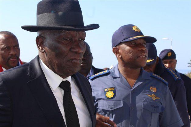 Police minister Bheki Cele in Harding.
