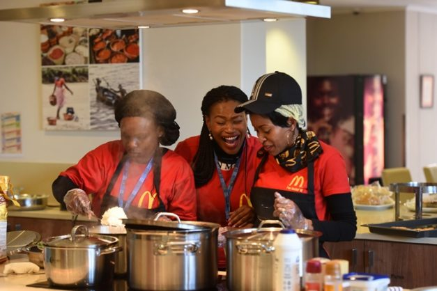 Tholakele Magagula (left), Zoe PR  Communications Managers Founder, Khanyisile Madlala (centre) and Franchise Operator Owner North West (Harties and Brits), Zanele Mvelase prepares food at Ronald McDonald House in Johannesburg, 18 July 2018, as part of her 67 Minutes for Mandela. Picture; Nigel Sibanda